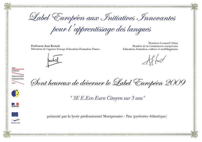 Attestation Label Européen 2009 result